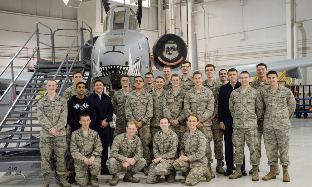 AFROTC 250 in front of aircraft